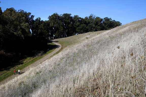 People walk their dogs along the pathway at the Fairmont Ridge open space on Thursday December 14, 2017, in Castro Valley, Calif.