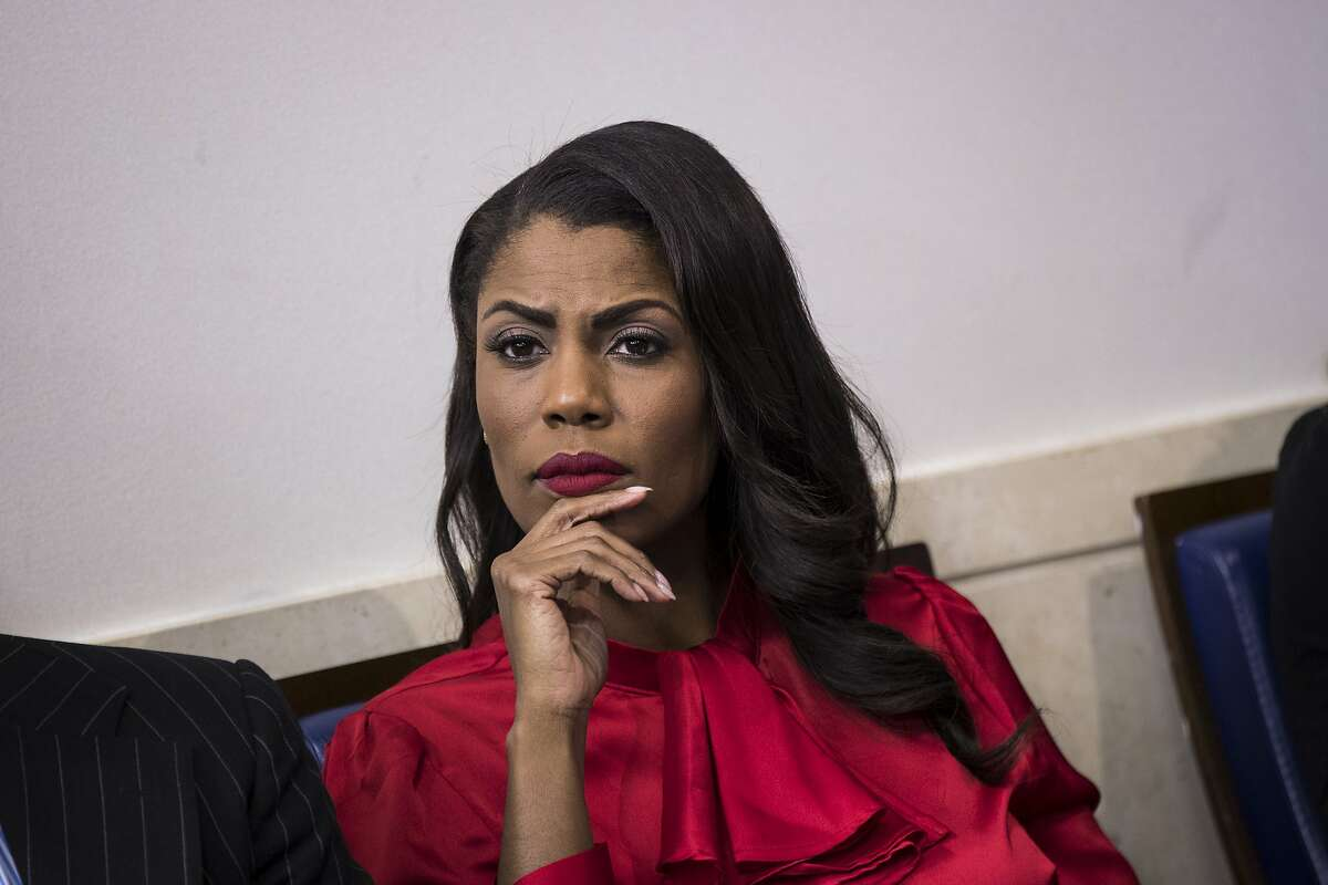 Omarosa Manigault listens during the daily press briefing at the White House, October 27, 2017 in Washington, DC. (Drew Angerer/Getty Images)