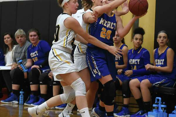 Mercy defeats Hand, 50-40, Thursday, Dec. 14, 2017, at Daniel Hand High School in Madison.