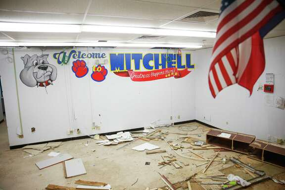 Debris sits where the front office used to be at Mitchell Elementary on Thursday in Houston. The school was flooded with about two feet of water during Hurricane Harvey and will be demolished and rebuilt.