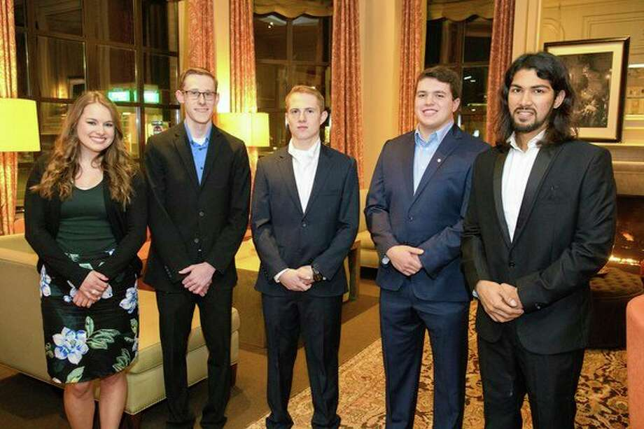 Northwood University students who won the Whiting Forest Cafe Build-a-Business Competition, from left to right: Kaitlyn Cole, Jon Perrault, Nathan Bauer, Tristan Korzelius, and Akash Jain Bengani. (Courtesy of Northwood University) / Steven Simpkins