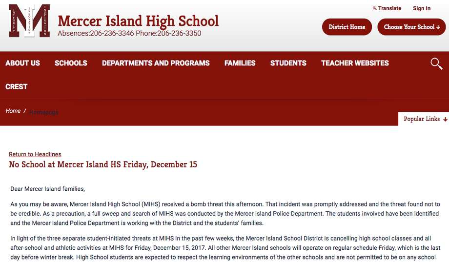 Mercer Island School District officials canceled all classes and activities at Mercer Island High School for Friday, Dec. 15, 2017, after a series of threats. Photo: Mercer Island Schools