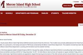 Mercer Island School District officials canceled all classes and activities at Mercer Island High School for Friday, Dec. 15, 2017, after a series of threats.