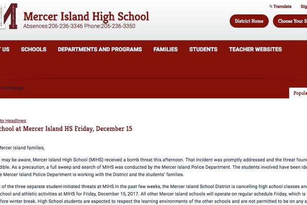 Mercer Island High School Closed Friday After Threats Sfchroniclecom