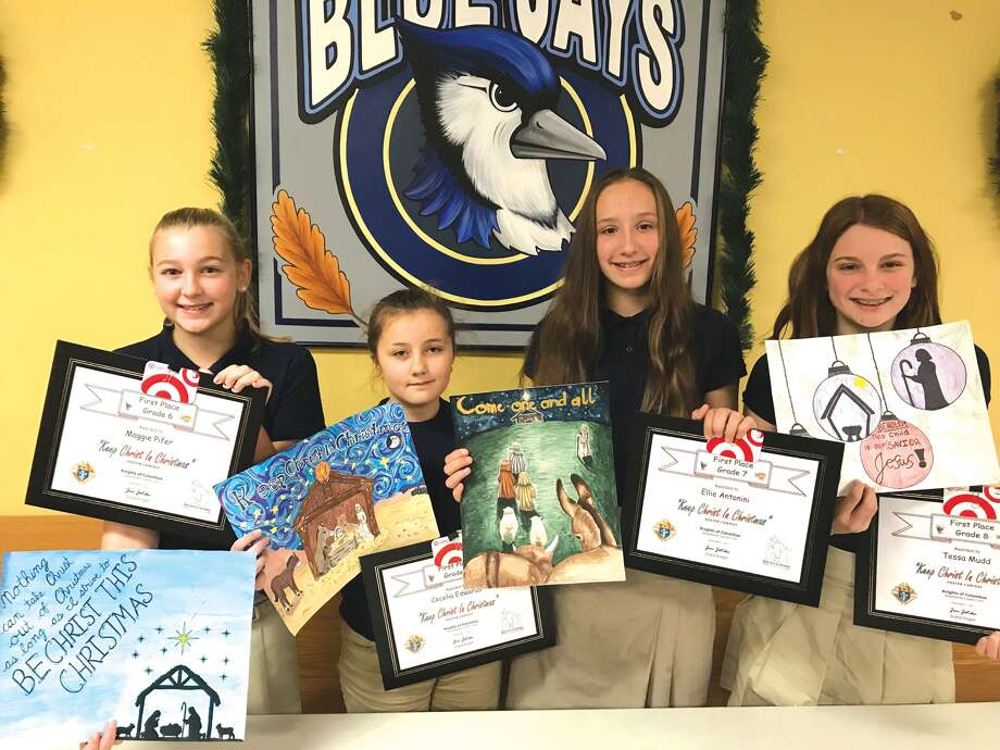 Each year, the Edwardsville Knights of Columbus Council 1143 sponsors a Keep Christ in Christmas Poster Contest. Students in grades 5-8 in Edwardsville schools are eligible. St. Boniface sent two entries per grade level to the council, where they were displayed and voted on at the December 1st Fish Fry.  The school is proud to announce the following students won for their grade levels and received a $25 Target gift card. Winners are, from left: Maggie Pifer, CeCe Edwards, Ellie Antonini, and Tessa Mudd. Photo: For The Intelligencer