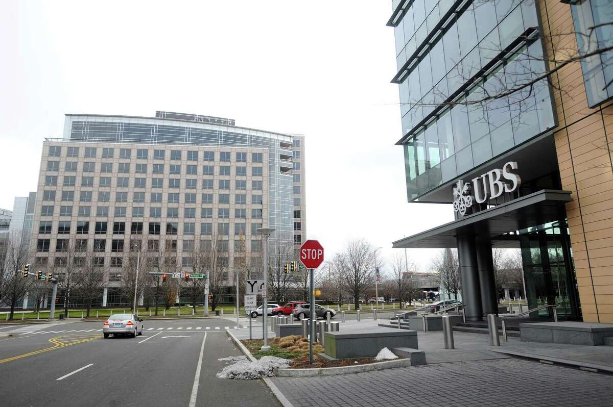 UBS' local offices are located in the Royal Bank of Scotland-owned building, right, at 600 Washington Blvd., in downtown Stamford, Conn. In 2016, it moved out of the office complex, at left, at 677 Washington Blvd.