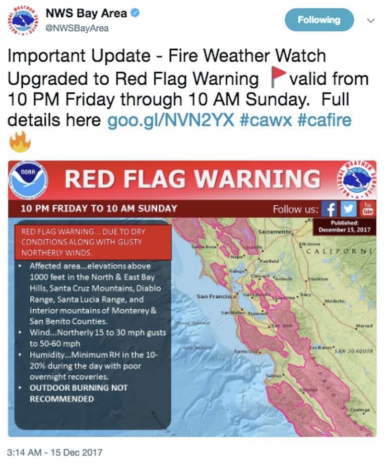 """The National Weather Service Bay Area tweeted on Dec. 15: """"Fire Weather Watch Upgraded to Red Flag Warning valid from 10 PM Friday through 10 AM Sunday."""" Photo: National Weather Service Bay Area"""