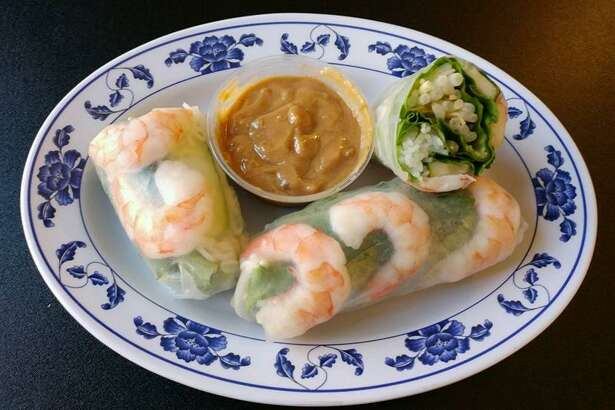 Shrimp spring rolls served with peanut sauce at Sprouts in Bethel.