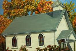Pictured is a painting of Shiloh Christian Church in Glen Carbon by Alicia Halpin.