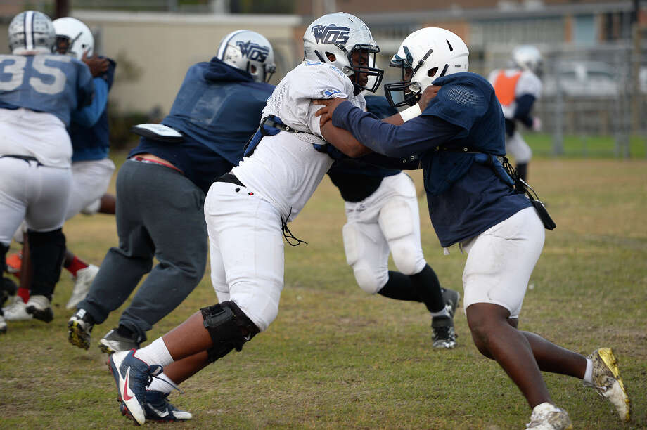 West Orange-Stark players block each other during practice on Wednesday afternoon. The team is looking to extend their winning streak to 40 on Friday, clinching their fourth-straight trip to the state title game.  Photo taken Wednesday 12/13/17 Ryan Pelham/The Enterprise Photo: Ryan Pelham / ©2017 The Beaumont Enterprise/Ryan Pelham
