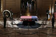 The casket with the body of Mayor Ed Lee lying in state the San Francisco City Hall rotunda, on Friday December 15, 2017, in San Francisco, Ca.