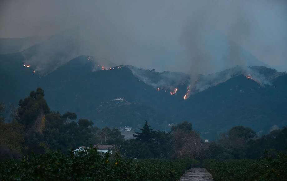 Fires burn across Romero Canyon hillside in Montecito, California, north of Santa Barbara on December 12, 2017. Crews battling wildfires ravaging southern California for a week have managed to slow the spread of the worst of the blazes, officials said, as residents were taking stock of the catastrophic damage. Photo: FREDERIC J. BROWN, AFP/Getty Images