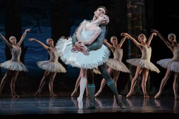 "Sara Webb and Connor Walsh with Artists of Houston Ballet in ""Swan Lake."" Choreographed by Stanton Welch of the Houston Ballet."