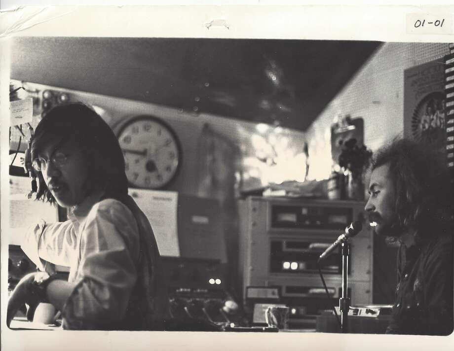 Ben Fong-Torres (left) in the studio at KSAN in 1970, with guest David Crosby. Photo: Courtesy Ben Fong-Torres