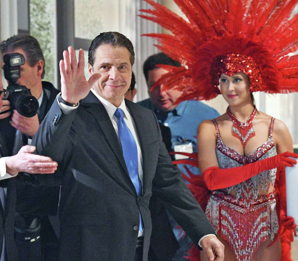 Gov. Andrew Cuomo waves as he arrives for the opening of Rivers Casino and Resort Wednesday Feb. 8, 2017 in Schenectady, NY. (John Carl D'Annibale / Times Union)