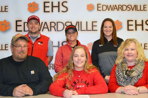 EHS senior Carlie Van Patten, seated center, will play women's golf for Rend Lake. She is accompanied by her father Tim and mother Shannon. Standing are Rend Lake coaches Shane Dyel and Danielle Kaufman and EHS coach Abby Comerford.