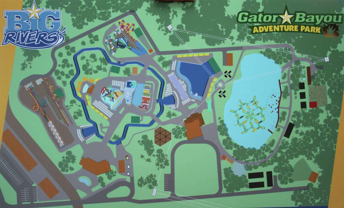 Big Rivers Waterpark and Gator Bayou Adventure Park are planned to be built next to each other in New Caney off of SH 242 as part of the Grand Texas theme park. Big Rivers and Gator Bayou are expected to be finished next May.