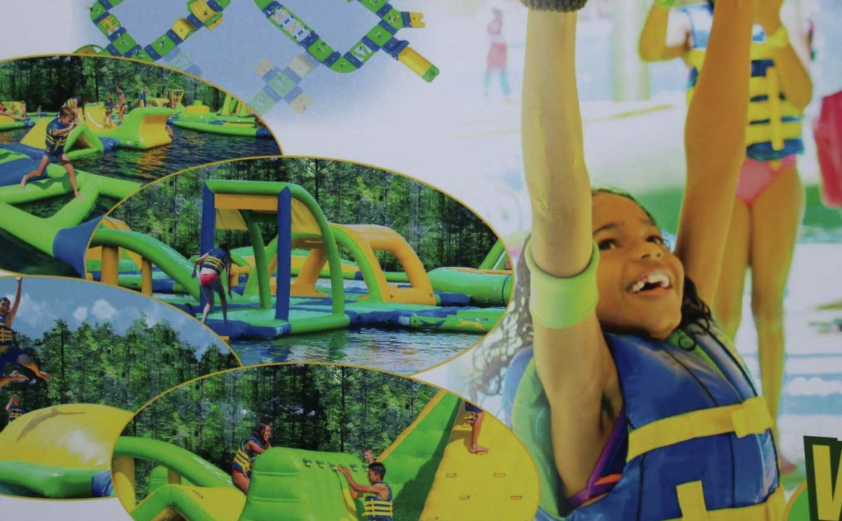 One of Big Rivers Waterpark's attractions is the Wild Isle Floating Outdoor Aquapark, which gives children a floating playground.