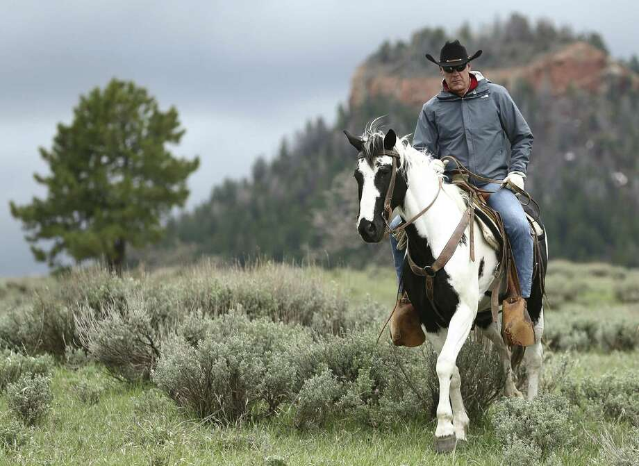 "In this May 9, 2017, photo, Interior Secretary Ryan Zinke rides in the Bears Ears National Monument with local and state representatives in Blanding, Utah. Zinke is strongly disputing a claim by outdoor retailer Patagonia that President Donald Trump ""stole"" public land by shrinking two national monuments in Utah. Photo: Scott G Winterton /Associated Press / The Deseret News"