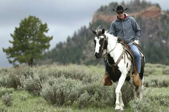"In this May 9, 2017, photo, Interior Secretary Ryan Zinke rides in the Bears Ears National Monument with local and state representatives in Blanding, Utah. Zinke is strongly disputing a claim by outdoor retailer Patagonia that President Donald Trump ""stole"" public land by shrinking two national monuments in Utah."