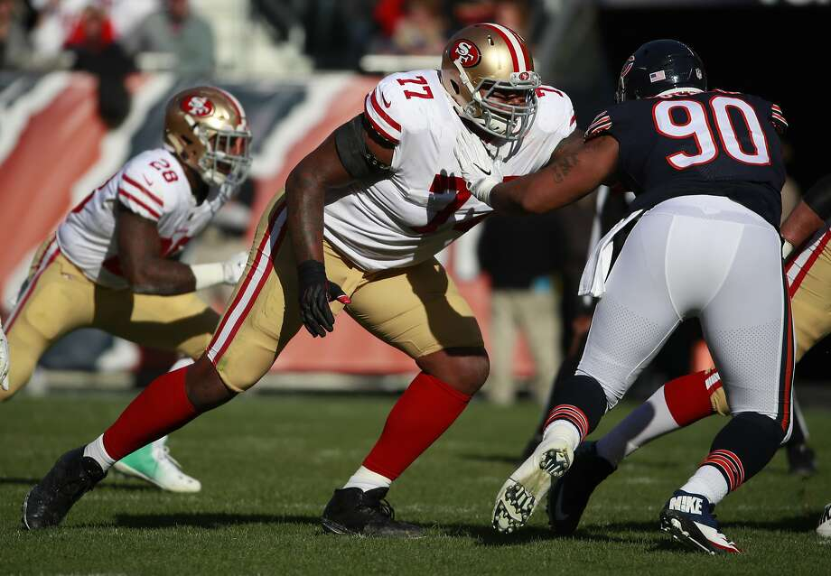 San Francisco 49ers offensive tackle Trent Brown (77) sets to block Chicago Bears defensive end Jonathan Bullard (90) during an NFL football game Sunday, Dec. 3, 2017, in Chicago. The 49ers won the game 15-14. (Jeff Haynes/AP Images for Panini) Photo: Jeff Haynes, Associated Press