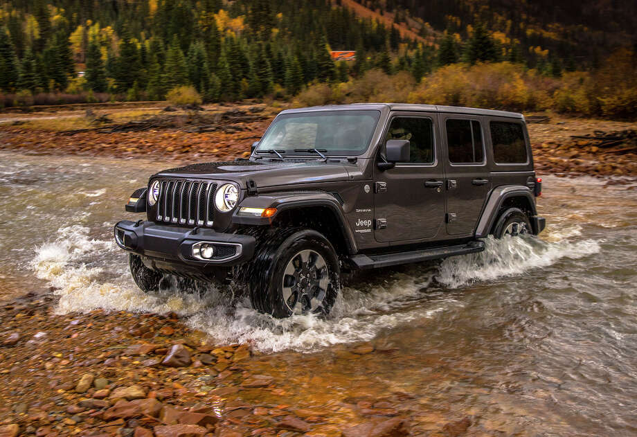 Jeep said its new 2018 Wrangler can ford water as deep as 30 inches. The four-door Rubicon has an approach angle of 43.9 degrees, breakover is 22.6 degrees and departure is 37 degrees. Photo: Jeep / Copyright © 2017 FCA US LLC. All Rights Reserved.