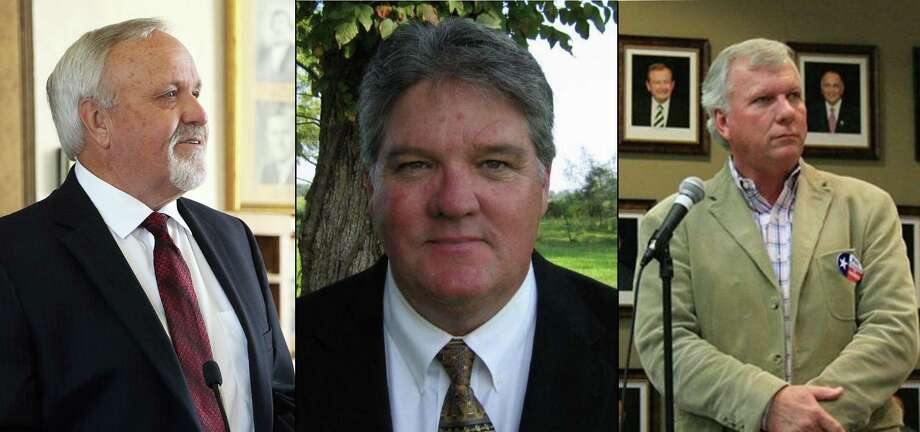 Three candidates are vying for the position of Liberty County Judge in the March Republican Primary and all three have experience in the role. Pictured left to right are Jay Knight, Craig McNair and Phil Fitzgerald. Photo: File Photos