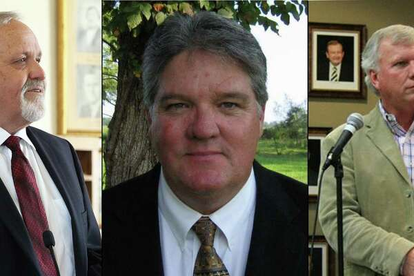 Three candidates are vying for the position of Liberty County Judge in the March Republican Primary and all three have experience in the role. Pictured left to right are Jay Knight, Craig McNair and Phil Fitzgerald.