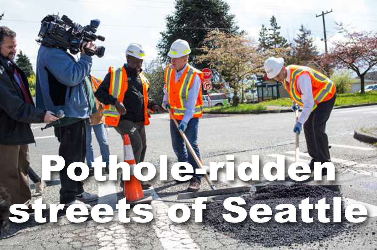 Click through to see some of the pothole-ridden streets of Seattle from the summer of 2017.