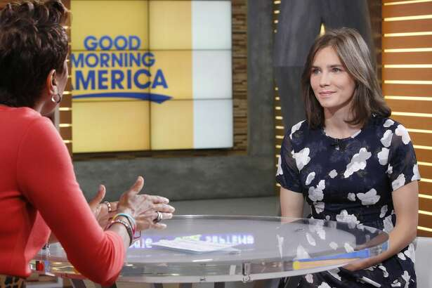 """Amanda Knox is a guest on """"Good Morning America,"""" Thursday, September 29, 2016, airing on the ABC Television Network.   (Photo by Lou Rocco/ABC via Getty Images)  ROBIN ROBERTS, AMANDA KNOX"""
