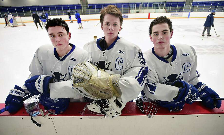 From left, West Haven senior captains Collin Braziel, Logan Cole, and EJ Pacapelli. Photo: Catherine Avalone / Hearst Connecticut Media / New Haven Register