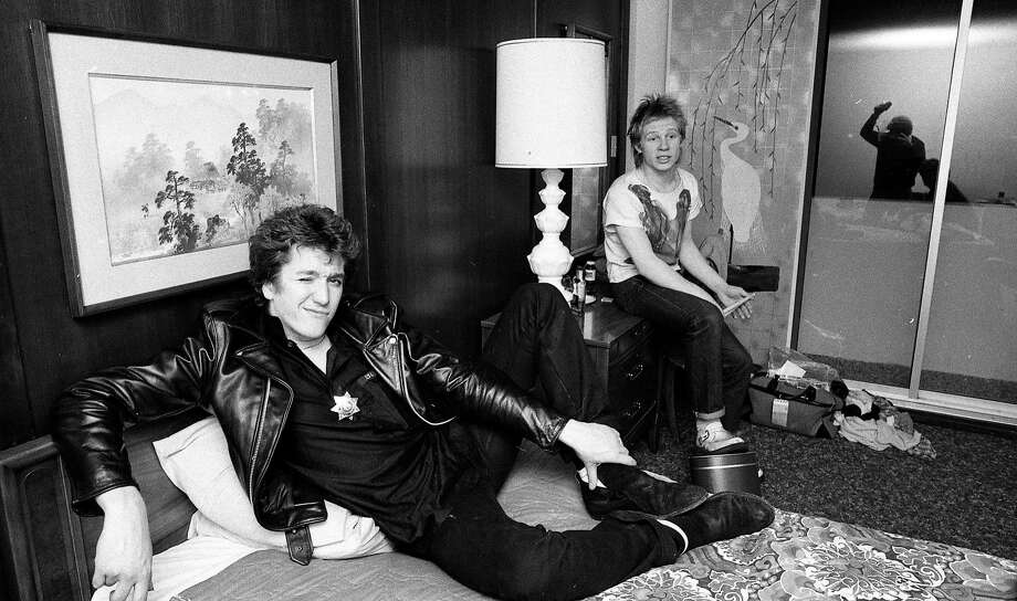 Guitarist Steve Jones and drummer Paul Cook during their hotel-room interview with Steve Rubenstein of The Chronicle. Photo: John Storey, The Chronicle