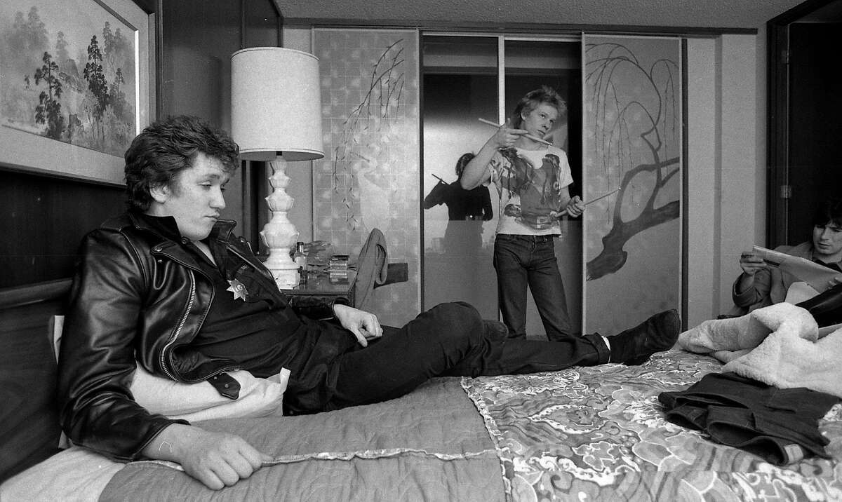 Guitarist Steve Jones and drummer Paul Cook of the punk rock band the Sex Pistols are interviewed in their hotel room in San Francisco by Steve Rubenstein, 01/13/1978. The Sex Pistols would play their last concert before breaking up at Winterland on Jan. 14, 1978.