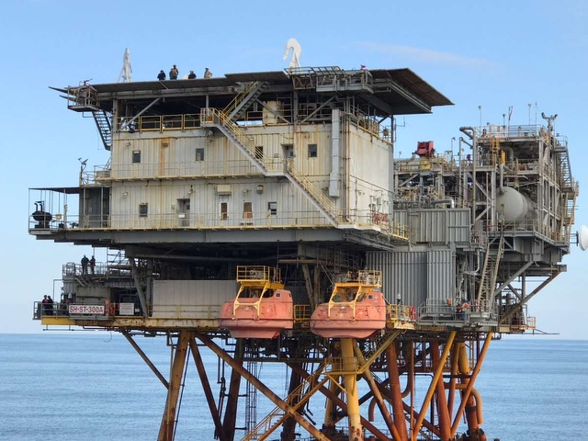 Royal Dutch Shell's 36-year-old Cougar oil and gas platform. The bulk of the platform was converted into an artificial reef in November.