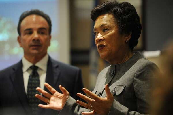 Bridgeport Mayor Joe Ganim and New Haven Mayor Toni Harp announce their application for Amazon's planned east coast headquarters at the Margaret Morton Government Center in Bridgeport, Conn. on Monday, October 16, 2017.