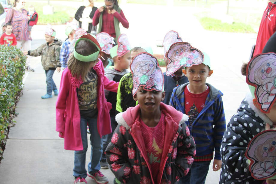 James Street Elementary kindergartners lined up outside the COCISD administration building before they performed Christmas carols on Wednesday, Dec. 13. Photo: Submitted