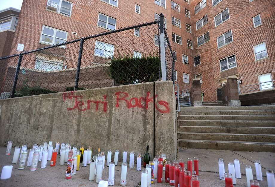 """A memorial to Jeri """"Racks"""" Kollock outside Charles Greene Homes housing project Building No.1 in Bridgeport, Conn., on Thursday, October 12, 2017. Kollock was shot and killed Wednesday. Photo: Brian A. Pounds / Hearst Connecticut Media / Connecticut Post"""