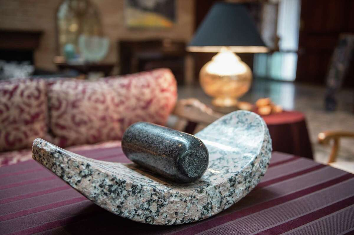 This mortar-and-pestle-like sculpture is by Texan Jesus Moroles.