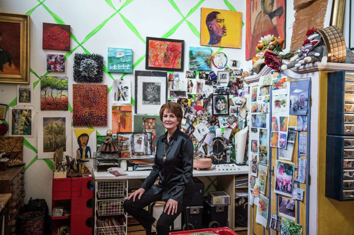 Crystal's art studio is filled with art, some she made herself, and some made by Art League Houston's Healing Arts students, who inspire her during her volunteer time there.