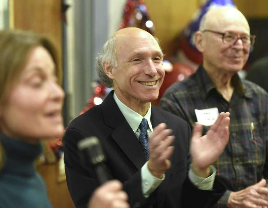 Democratic tax collector candidate Howard Richman thanks his supporters after defeating Republican incumbent tax collector Tod Laudonia at the Greenwich Democrats Election Night Party at the Senior Center in Greenwich, Conn. Tuesday, Nov. 7, 2017. Photo: Tyler Sizemore / Hearst Connecticut Media / Greenwich Time