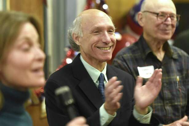 Democratic tax collector candidate Howard Richman thanks his supporters after defeating Republican incumbent tax collector Tod Laudonia at the Greenwich Democrats Election Night Party at the Senior Center in Greenwich, Conn. Tuesday, Nov. 7, 2017.