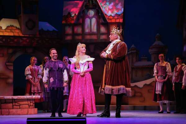 """Ben Giroux as Silly Billy, Lauren Taylor as Princess Aurora, and John O'Hurley as King of Houston in TUTS' """"Sleeping Beauty and Her Winter Knight"""""""
