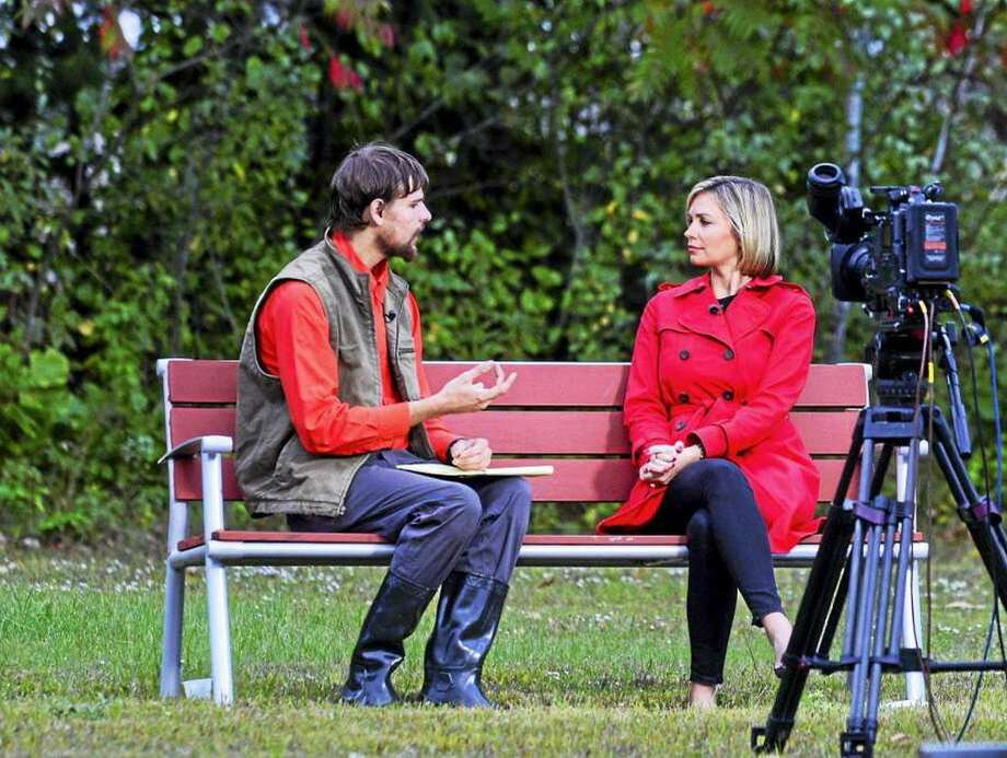 Nathan Carman, formerly of Middletown, talks to an ABC news reporter in Brattleboro, Vermont, last September. Carman, 22, was rescued from a life raft after a fishing trip that left his mother Linda Carman, 54, of Middletown missing and presumed dead. Photo: Associated Press