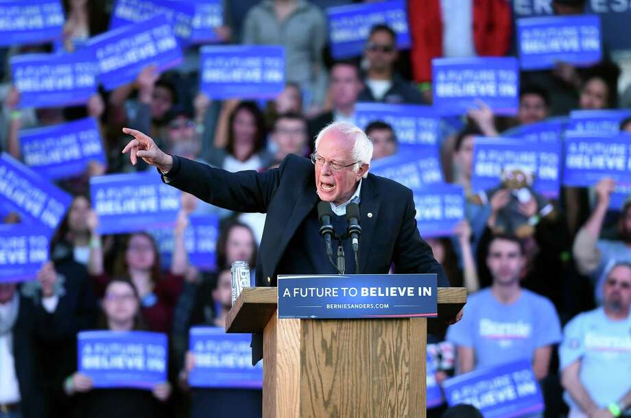 (Arnold Gold-New Haven Register)  Democratic presidential candidate Bernie Sanders speaks at a rally on the New Haven Green on 4/24/2016.