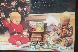 A Christmas 2016 photo of Jack in red at 17 months and Bill at age 2 ½, great grandsons of Connie and Dan McLendon.