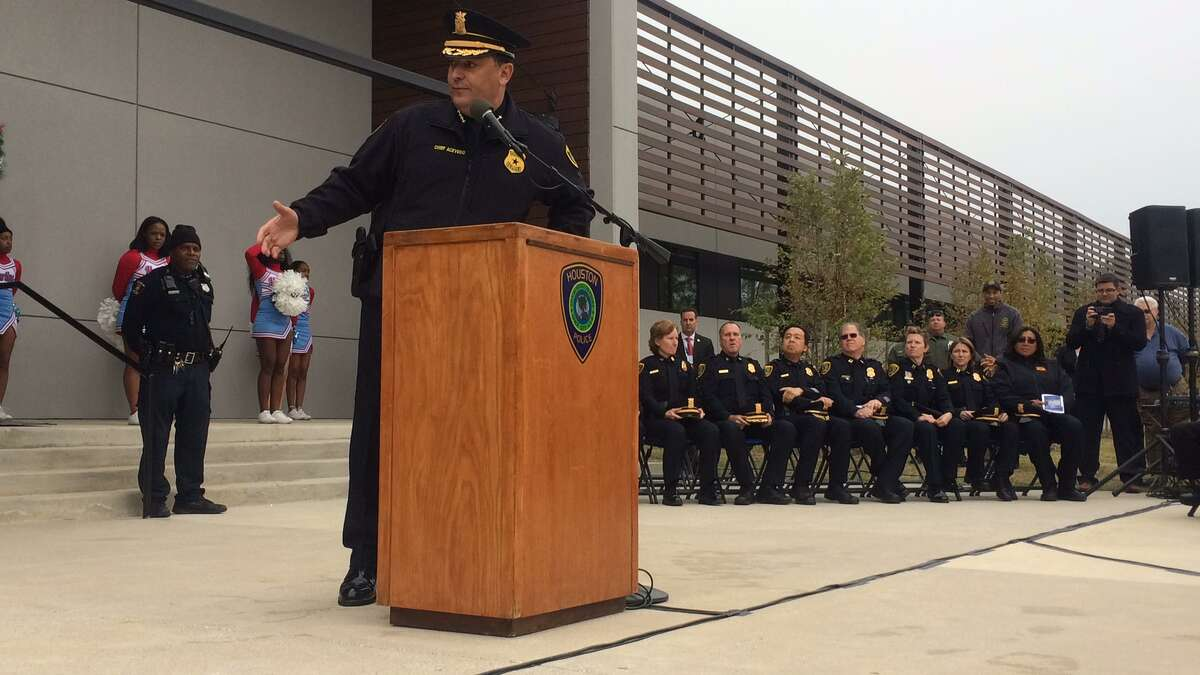 Chief Art Acevedo speaks at the unveiling of HPD's new police station in southwest Houston