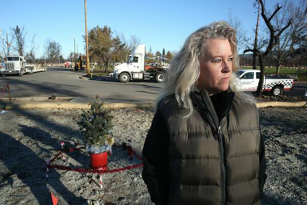 Samantha Eggert on her property at Coffee Park where her home burned down during last month's Santa Rosa fire on Wednesday, December 6, 2017, in Santa Rosa, CA.