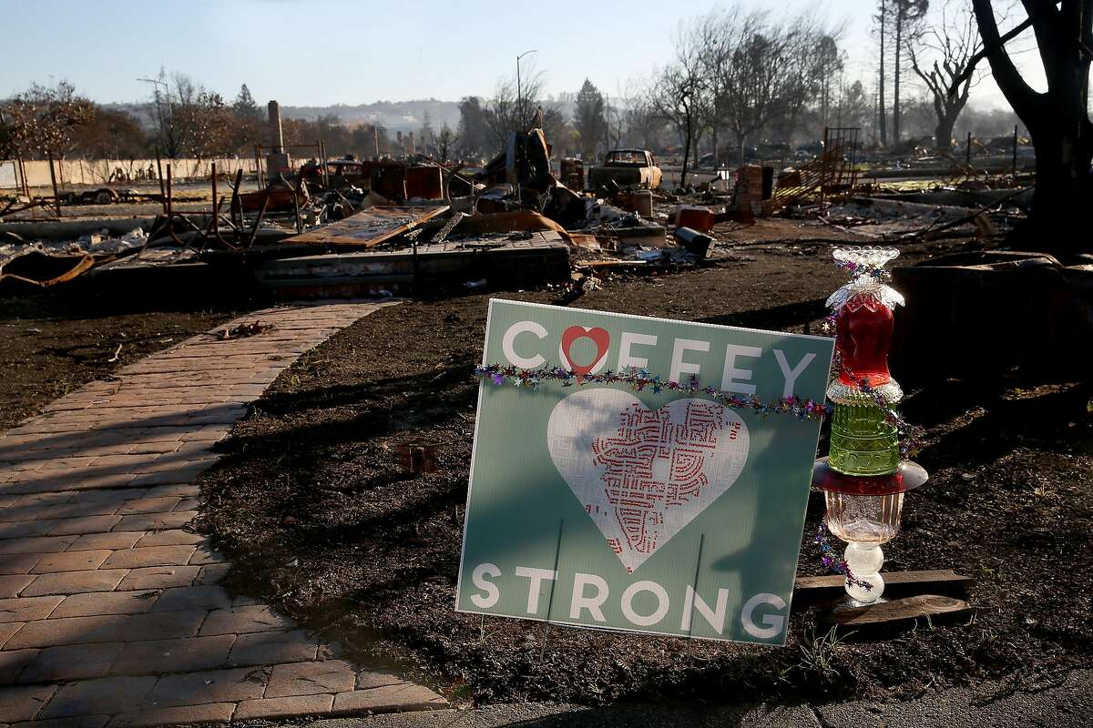 Sign in front of home destroyed by fires at Coffey Park on Thursday, December 7, 2017, in Santa Rosa, Calif.