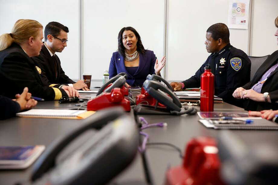 Acting Mayor London Breed with Fire Chief Joanne Hayes- White, Chief of Staff Jason Elliott and Police Chief Bill Scott. Photo: Michael Macor, The Chronicle