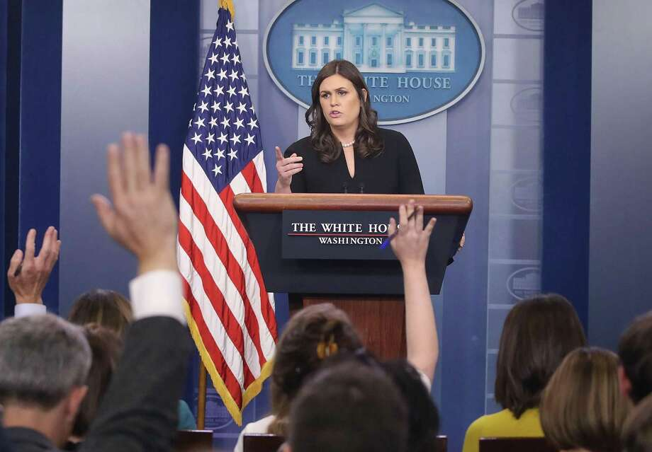 White House Press Secretary Sarah Huckabee Sanders speaks to the media during her daily press briefing at the White House on Dec. 12. In exchanges with reporters, the press secretary seems to conflate honest mistakes made by journalists with journalistic bias. Photo: Mark Wilson /Getty Images / 2017 Getty Images